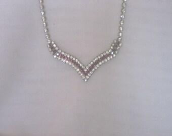 Vintage White/Purple Rhinestone  Necklace  and Earring Set