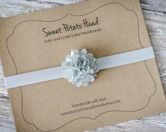 Baby Headband - Everyday Gray - Shabby Chic Chiffon and Organza Fluff Flower Hair Accessory