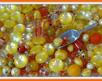 JellyJarJewels - Delicious Beads by the Scoop - Citrus. - yellow and orange - 15 to 30 beads per scoop