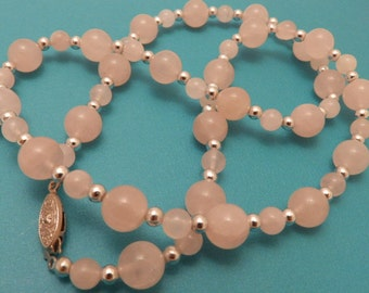 Vintage Rose  Quartz and Silver Bead Necklace