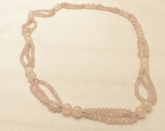 Vintage Rose Quartz Necklace Multi Strand Long Length