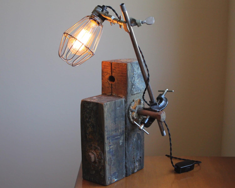 industrial desk lamp reclaimed wood lamp rustic beam wood. Black Bedroom Furniture Sets. Home Design Ideas