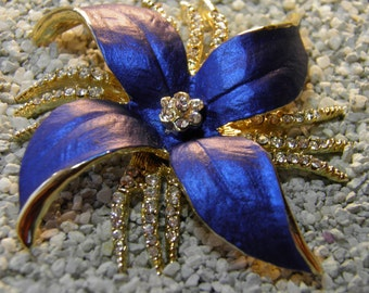 Gold-tone Flower Brooch With Blue Petals And Rhinestones