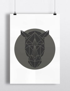 Rhino Art Print Geometric Rhino Head Print Cool Grey Art