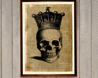 Anatomy poster Skeleton decor Crowned Skull print Dictionary page WA65
