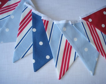 Boys Nautical Seaside Bunting Red White Blue
