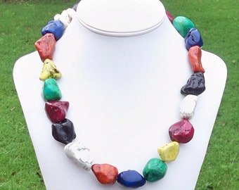 Dinisa - Rainbow Colorful Turquoise Howlite Freeform Nugget Gemstone Beaded Necklace