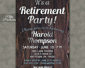 Retirement Party Invitations - Printable Wood Retirement Invites - Wood & Silver Mens Rustic Retirement Party Invitation SWD