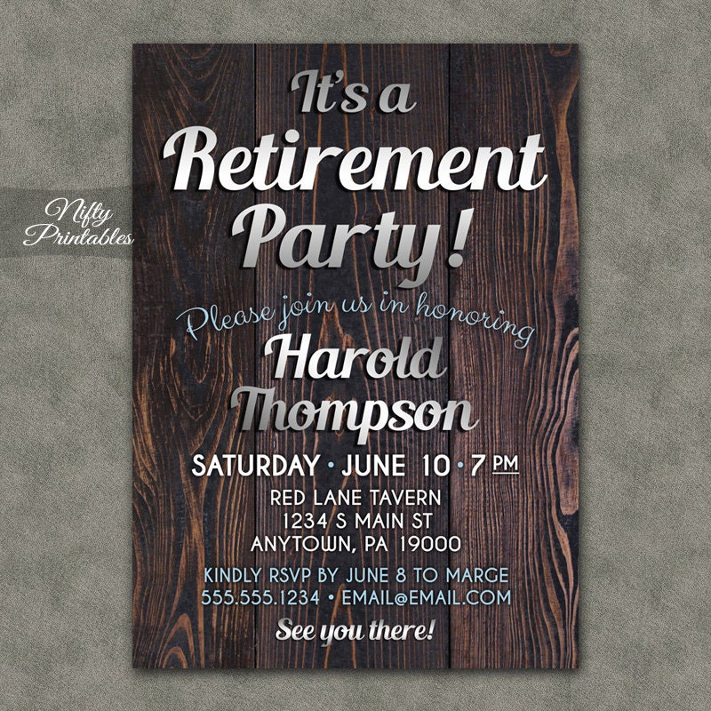 It's just a picture of Playful Printable Retirement Invitation