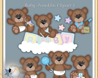 Baby clipart, Teddy Bears for Boys, Digital Scrapbook elements for Commercial Use