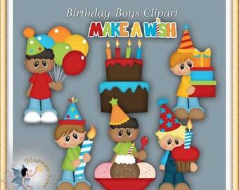 Birthday Boys Clipart, Party, Digital Scrapbook
