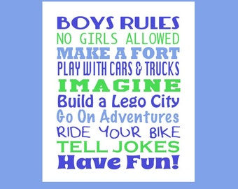 Little Boys Room Decor - Boys Subway Art - Boys Rules