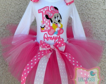 Baby Minnie Mouse In Pinks Birthday Number Tutu -Personalized Birthday Tutu,Sizes 6m - 14/16