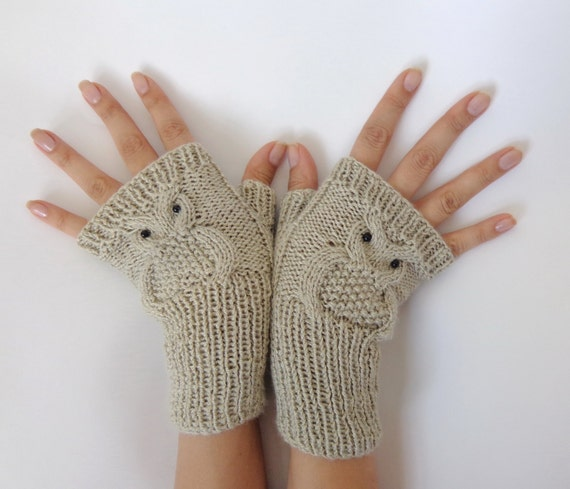 Items similar to Owl Fingerless Gloves -Knitted Mittens Or ...