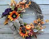 Fall Wreath, Autumn Wreath, Harvest Wreath, Primitive Wreath, Rustic Wreath, Fall Decor, door decor, Thanksgiving Wreath