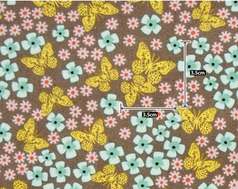 Cotton Fabric Butterfly Yellow By The Yard