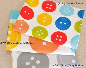 Cotton Fabric Button in 3 Patterns By The Yard