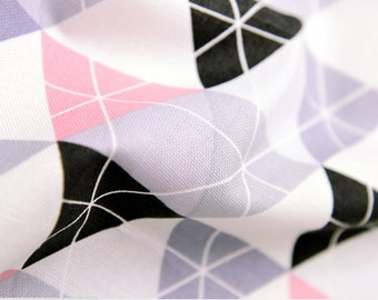 Oxford Cotton Fabric Triangle Pink & Gray By The Yard