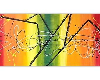 "16 x 40 ""Marley"" Colorful Abstract Acrylic Art"