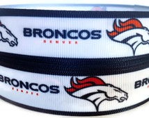 7/8 inch Grosgrain Denver Broncos Football Ribbon Trim By The Yard by KC Elastic Ties