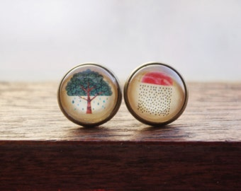 Watermelon rain & tree rain glass dome stud earring, cabochon earring,Christmas gift. birthday gift, graduation gift,watermelon tree earring