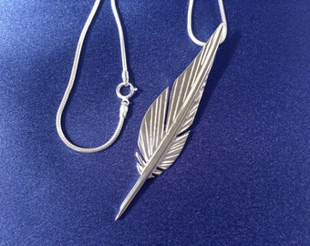 Hand Crafted Sterling Silver Quill Pendant.  .925 Sterling Silver Quill. Free Shipping