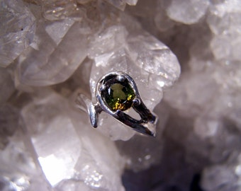 Andalusite Ring ~Sterling Silver~ Rare Bi-Color Stone ~Brown & Green  Hand Cast