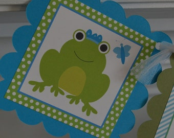 Frog Theme Banner - Frog Party - Frog Birthday Banner - Blue and Green Frog Banner - Froggy Party - Frog Banner - Party Packs Available