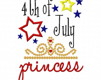 4th of July Princess Crown Patriotic Fourth of July Applique Machine Embroidery Design 4x4 and 5x7