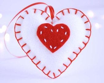 Christmas wool felt ornament - Red heart on white heart