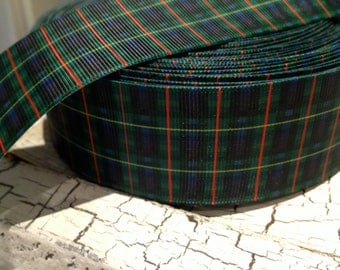 """1.5"""" Navy Green and Red PREPPY PLAID  Grosgrain ribbon sold by the yard"""