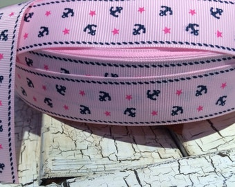 """1"""" Navy Nautical Anchor on Pink Grosgrain Ribbon sold by the yard"""