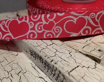 "3 YARDS 7/8"" Hot Pink GLITTER HEART Love Valentine grosgrain Ribbon"