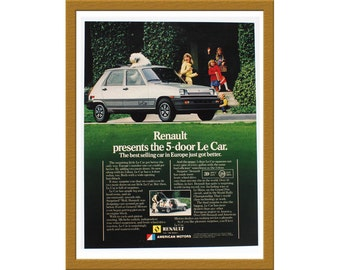 "1981 Renault Le Car Color Print AD / The best selling car in Europe just got better / 9"" x 12"" / Original Advertising / Buy 2 ads Get 1 FREE"