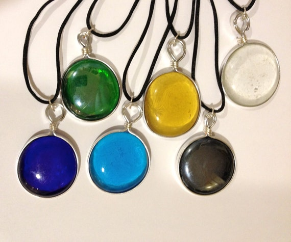 Wire mounted glass cabochon pendant with black satin cord - various colors