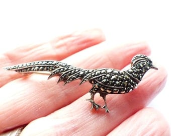 Sterling Silver and Marcasite Pheasant  marked 925 SALE was 29.00 NOW 17.00