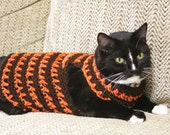 Autumn Striped Cat Sweater - Hand Crocheted with Pumpkin and Brown Colored Yarn