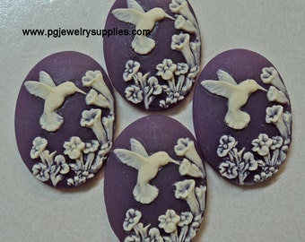 25mm x 18mm hummingbird on flowers cameos ivory on purple  4 pieces lot l