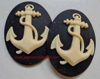 40mm x 30mm ship anchor nautical cameos ivory on black 2 pieces lot l