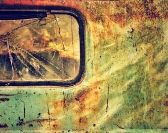 Car Art Broken Mirror with Peeling Paint and Rust, Vintage, Old