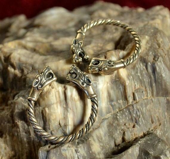 Viking bronze Wolf Head bague bijou bijoux païennes celtiques bijoux ...