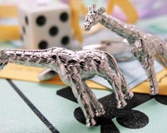 Africa Giraffe Cufflinks Silver Tone 3-D Cuff Links
