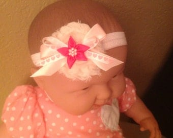 Baby headband, Pink baby flower headband, headband