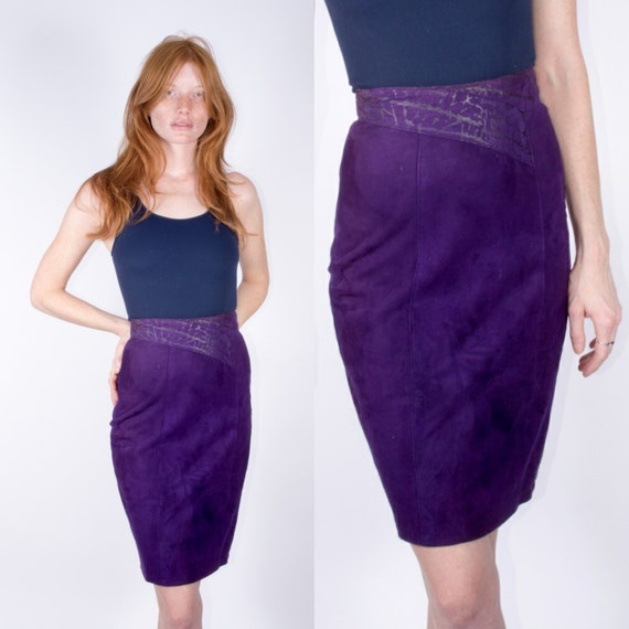 sale purple leather high waisted skirt 80s by