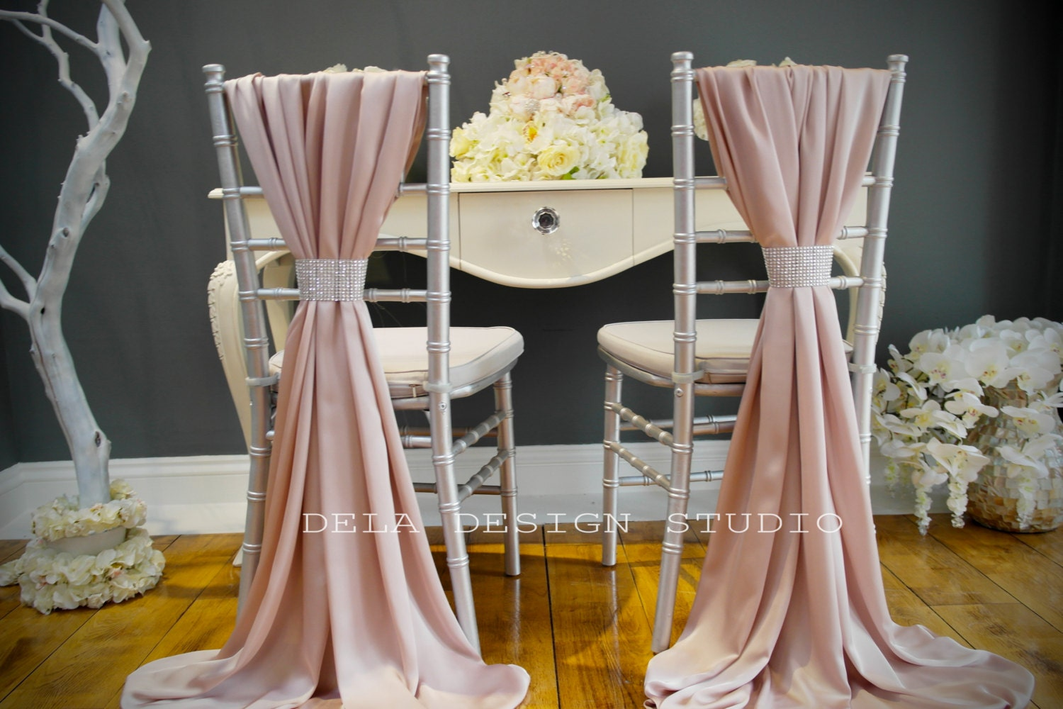 Wedding silky satin chair cover sash blush by deladesignstudio for Table and chair decorations for weddings