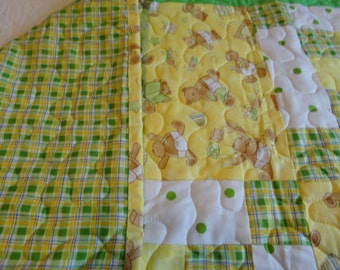 Teddy Bear Quilt in Yellow and Green for Boy or Girl