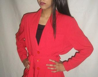 Vtg 80's LIPSTICK RED oversized blazer M