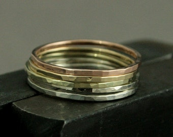 Ombre Rainbow - Set of 5 - 1mm Square Hammered Bands - Solid 14K Gold Stacking Rings - Unique Women's Stacking Set