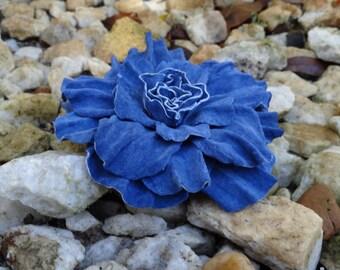 Handmade Genuine Suede Blue Color Flower Brooch/Pin, Leather Flower Brooch, Hair Clip