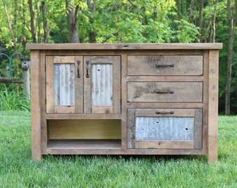 "Rustic Vanity (48"") - Reclaimed Barn Wood Vanity w/Barn Tin #5710"